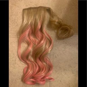 "18"" hair do ponytail -blonde with pink highlights"
